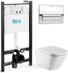 Система инсталляции Roca Active c унитазом подвесным Roca Gap с сиденьем микролифт и кнопкой смыва хром 893104100