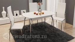 Обеденный стол раздвижной с хромированными ножками Ницца Т1 вариант 1 ТР
