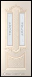 Межкомнатная дверь Румакс Джаз 1 персиковый с патиной СТ сатинат белый матовый