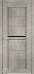 Межкомнатная дверь Velldoris (Веллдорис) NEXT 2 муар светло-серый, стекло лакобель черное