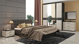 Двуспальная кровать «Сити» с мягким изголовьем (Тексит, Текстиль серый) без матраса ТР