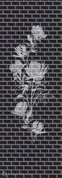 Стеновая панель ПВХ ПанельПласт Чёрный Кабанчик Роза (из 3х штук)